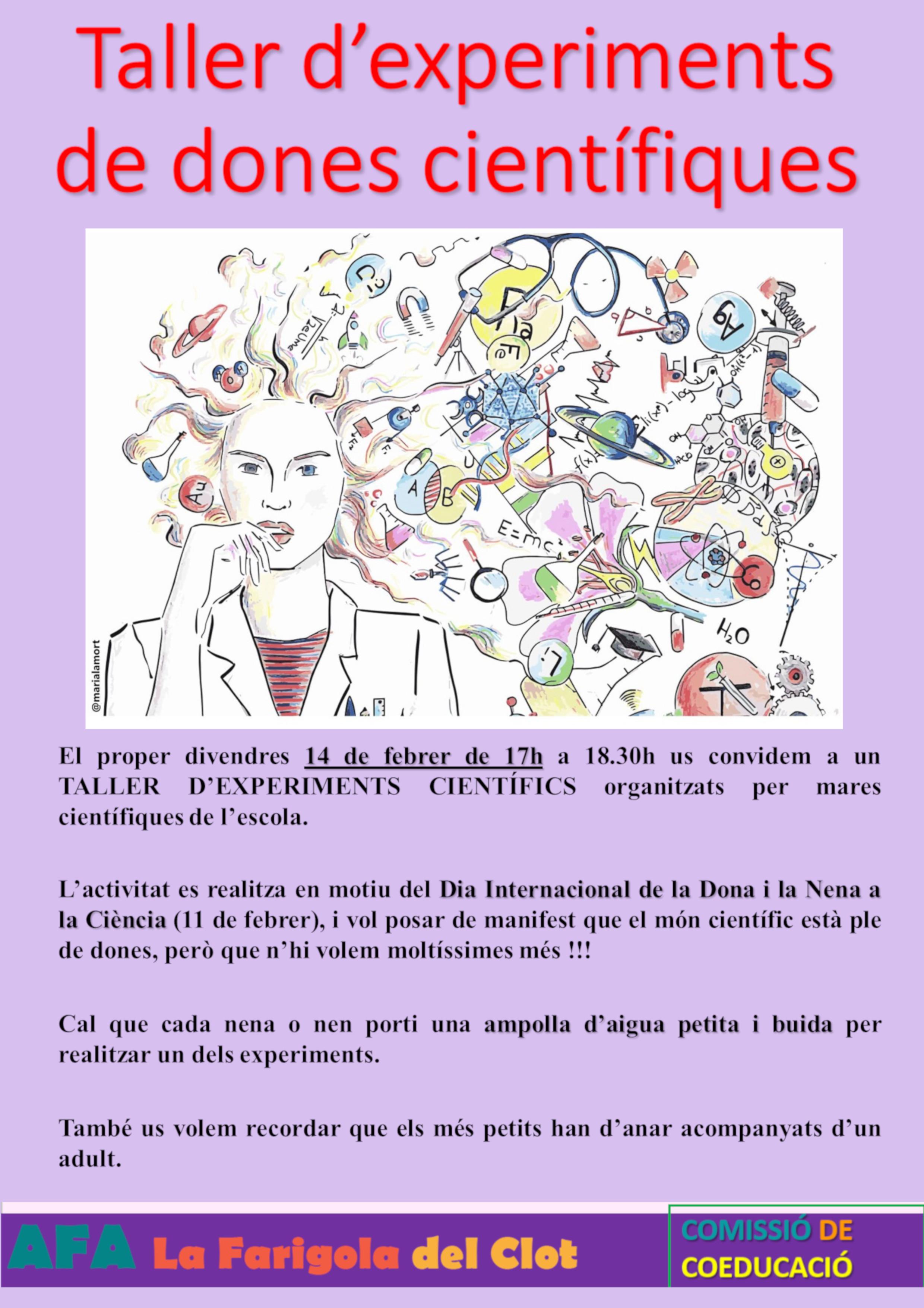 Cartell Taller experiments de dones cientifilques JPG